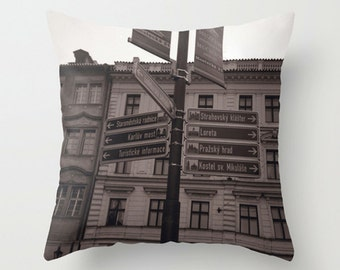 Street Sign Decorative Pillow Cushion for Urban Wanderlust Decor