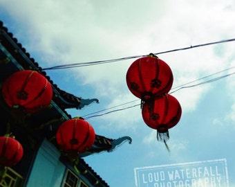 Chinatown Red Lanterns, Paper Lanterns on Wire, Downtown Los Angeles 12x12 Fine Art Travel Photograph
