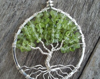 Peridot and Sterling Silver Tree of Life Pendant READY TO SHIP