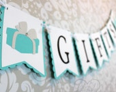 Gifts Banner Sign in Aqua, White & Black - Light Teal - Designer Inspired - Baby Shower, Bridal Shower, Birthday Party, Gradutation