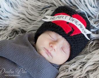 0-3 months Heart Breaker Valentine's Baby Beanie