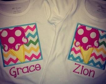 Ice Cream Shirt for Girls - Boutique Ice Cream Shirt - girls summer shirt