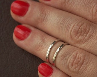 Silver Stacking Knuckle Rings - Set of Two Sterling Silver Hammered Knuckle Rings