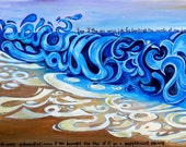 Arabic Calligraphy Print of Original Acrylic Sura Kahf Verse of Waves Crashing on Shore