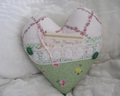 Pillow Green Shabby Chic Print Blue Rose Pink, Memory Heart Pillow White Lace Buttons Home Decor