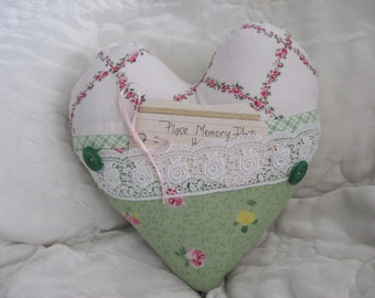 Pillow Green Shabby Chic Print Blue Rose Pink, Memory Heart Pillow White Lace Buttons Home Decor Bedroom Decor Decorative Accent