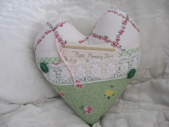 CLEARANCE SALE Pillow Green Shabby Chic Print Blue Rose Pink