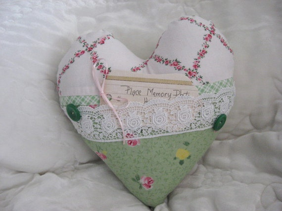 Shabby Chic Heart Pillows : CLEARANCE SALE Pillow Green Shabby Chic Print Blue Rose Pink