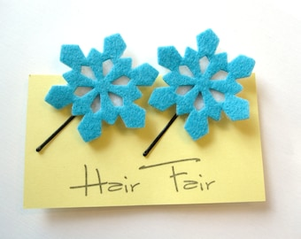 Felt Snowflake Hairpins - Perfect Winter Hair Accessory - Set of 2