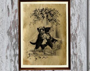 Wedding kittens print animal art Old paper Antiqued decoration vintage looking AK46