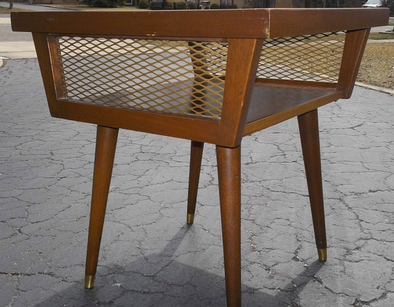 mid century square two tier 1960 end table by ernaandco on etsy. Black Bedroom Furniture Sets. Home Design Ideas
