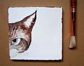Modern Home and Wall Decor, Art Block, Office Decor-Mad Cat-OOAK on Upcycled Wood, Cat Lover Gift,