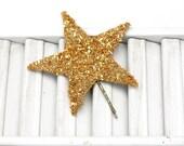 lucky star hair pin / gold german glass star bobby pin /  large glitter hair accessory