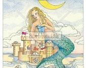 Playful Moon Mermaid - A7 Card