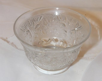 Vintage Custard Cup Clear Sandwich Pattern Anchor Hocking Glass
