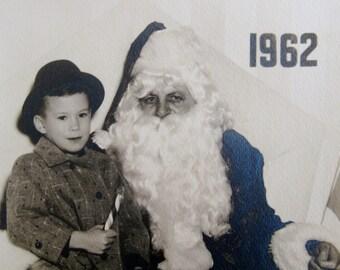 Vintage 1962 Original Christmas Black & White Photograph Sitting on Santa's Lap
