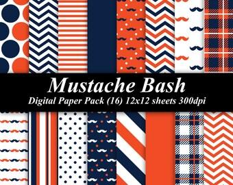 Mustache Bash Digital Paper Pack (16) 12x12 sheets 300 dpi scrapbooking invitations navy orange moustache mod birthday