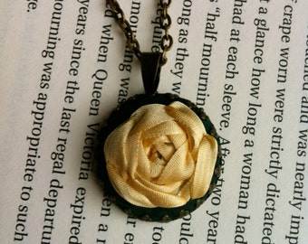 Green Embroidered Jewelry, Rose Pendant Necklace - Silk Ribbon Embroidery by BeanTown Embroidery