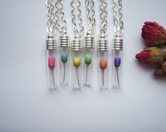 Miniature REAL Dried ROSE Bud FLOWER Vial Pendant Necklace - Choose from 6 bright colours