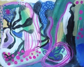 "Under the Sea, original gouache painting on paper, 9 1/2"" x 7"", abstract, blue, green, pink, small, modern, black and white"