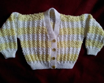 Hand knit childs stripey cardigan in yellow and white, size 26 inch