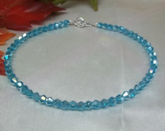 Aquamarine Anklet Light Blue Anklet With Swarovski Elements Ankle Bracelet 100% 925 Sterling Silver Anklet BuyAny3+Get1 Free