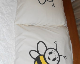 Bumble Bees, Male and Female, Hand Painted, Couples Pillowcases,  Bedroom Decor