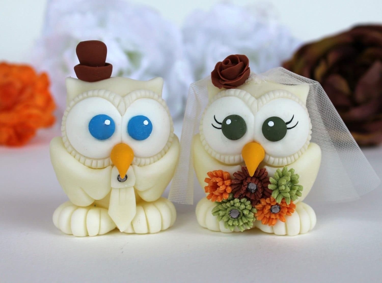 Owl Love Bird Wedding Cake Topper Ivory Owl Autumn By