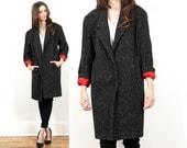 oversized wool coat // vintage 80s // tweed black white flecked // red lining // avant garde minimalist boyfriend garcon  // small medium