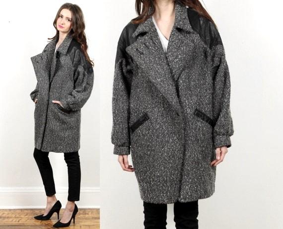 oversized wool jacket coat // leather trim by shopCOLLECT on Etsy