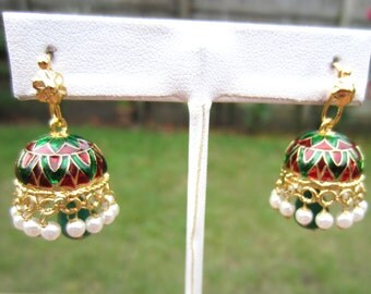 On Sale Chandelier Earrings Red and Green Stone Jhumkas