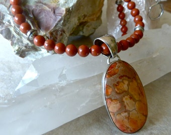 Earthy Agate and Red Jasper Artisan Necklace - Warm Peach and Silver Autumn Necklace