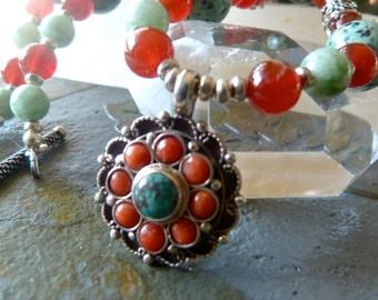 Coral Mandala Pendant - Carnelian, African Turquoise, Green Jade Mandala Necklace