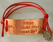 The Vampire Diaries inspired handstamped bracelet 'WWSDD What Would Stefan & Damon Do'