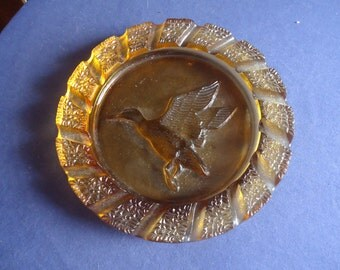 Imperial Glass Amber Mallard Ashtray