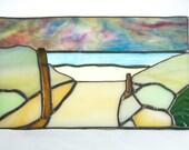 To The Beach, Weekapaug Rhode Island, original 3D stained glass beach art panel