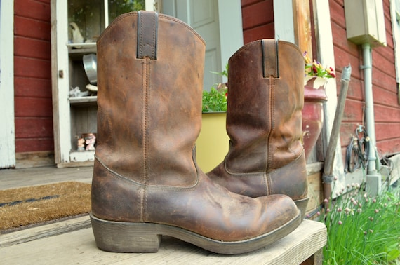 Distressed Long Haul Brown Leather Work Cowboy Boots