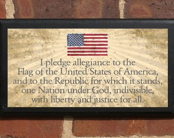 The Pledge of Allegiance Wall Art Sign Plaque, Gift Present, Home Decor, Vintage Style, Classic Liberty Justice for all One Nation America