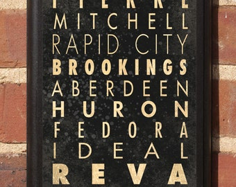 South Dakota SD Cities Transit Subway Scroll Vintage Style Wall Plaque Sign Home Decor Wall Art Gift Present