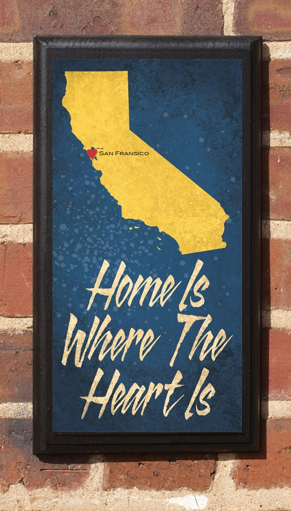 Home Is Where The Heart Is - Customizable California  Vintage Style Plaque / Sign Decorative & Custom