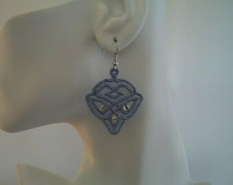 SALE Blue Celtic Diamond Lace Charm and Bead Earrings