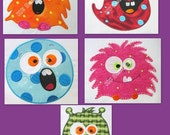 Cute Monsters 1-5 Machine Applique Embroidery Designs - 4x4, 5x7 & 6x8