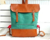 Green Waxed Canvas  Backpack  with Adjustable Leather Strap /Waterproof Backpack /School / Travel / Rucksack / Laptop Bag