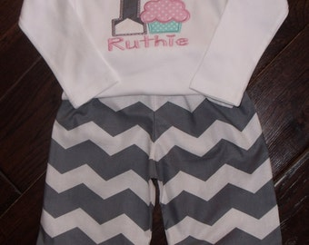 Boutique Birthday Chevron and Cupcake Themed Ruffle shirt and triple ruffle capri or pant set.  Sizes 3M to 6x Youth Long Sleeves or Short