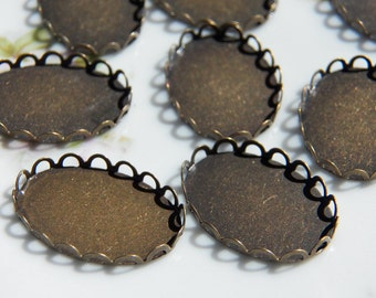 18X25mm Antique Bronze Plated Brass Lace Settings for Cabochons and Cameos, 8 PC (INDOC34)