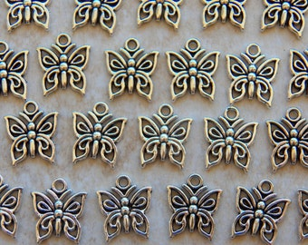 15X12mm Antique Silver Little Butterfly Charm Pendants, 12 PC (INDOC2736)