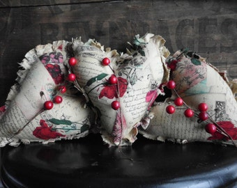 primitive valentines day raggedy heart ornies tucks bowl fillers