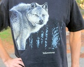 Hungry Like the Wolf - Rad Vintage 90s Yellowstone T-shirt, Hanes, Large / XL