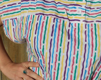 Rainbow Brite - Colorful Vintage 80s Retro Slouchy Shirt, Abstract Stripes