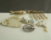 Vintage Instant Collection Six (6) Fish  Pins Pendents  - RS243